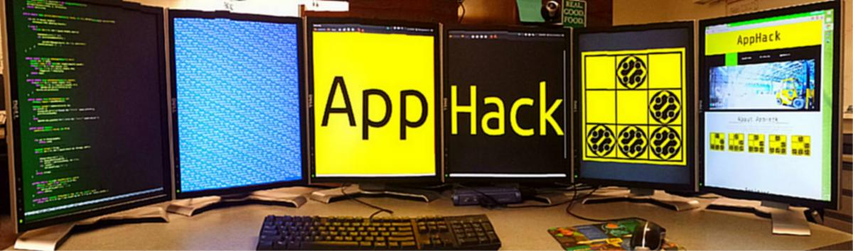 computer screens advertising the App Hack event